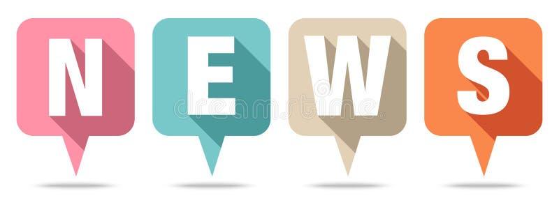Réglé de quatre couleurs de nouvelles de bulles de la parole rétros illustration de vecteur