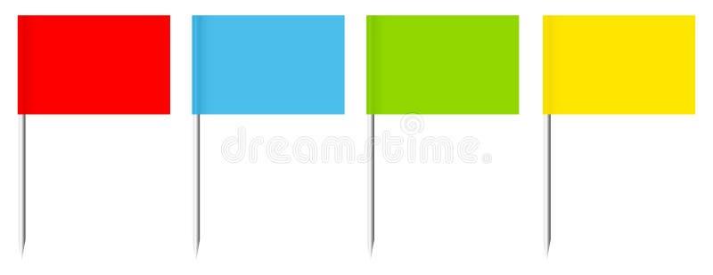 Réglé de quatre drapeaux droits de goupilles colorées avec le bâton en métal illustration stock