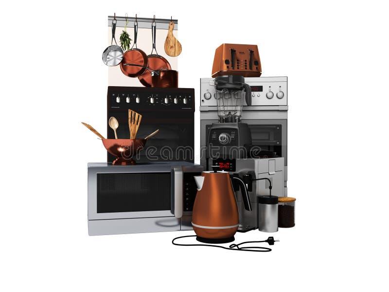Réglé des appareils de cuisine de ménage a isolé 3d pour ne rendre sur le fond blanc aucune ombre illustration libre de droits