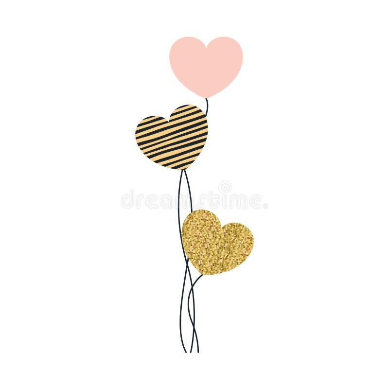 Réglé des ballons dans la forme de coeur dans la couleur de rose barrés et pixelated illustration stock