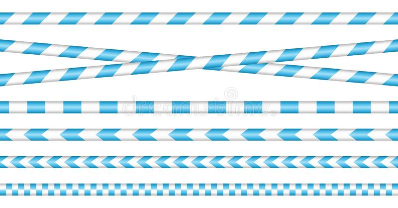 Réglé des bandes de barrière bleu et blanc illustration stock