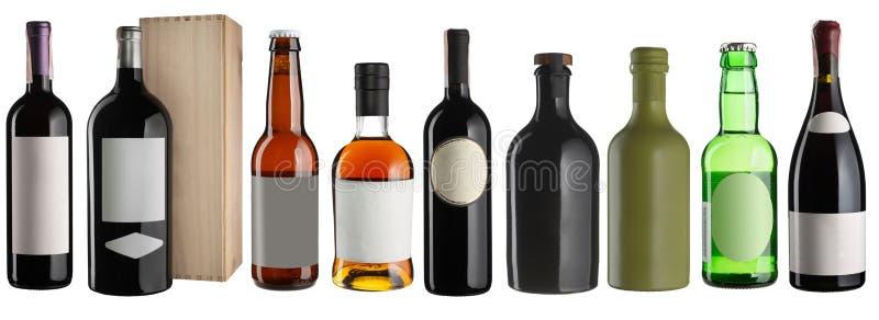 Réglé des bouteilles de boissons d'alcool d'isolement sur le blanc images stock