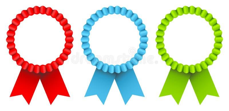 Réglé du cadre de trois insignes de récompense et du vert bleu rouge de rubans illustration de vecteur