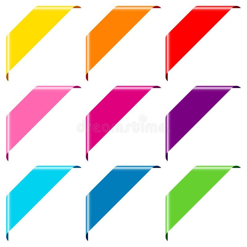 Réglé du coin coloré de la bannière neuf au-dessus de la gauche illustration de vecteur