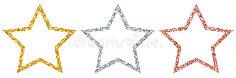 Réglé du cuivre de scintillement encadré d'argent d'or de trois étoiles illustration libre de droits