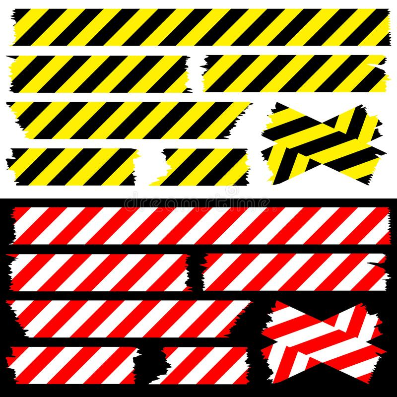 Réglé du jaune de bandes blanc rouge et noir de sécurité illustration stock
