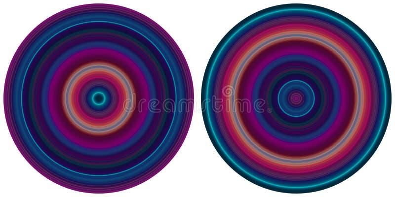 R?gl? du radial 2 lumineux abstrait lumineux a barr? des cercles dans des tons pourpres et bleus d'isolement sur le fond blanc Te illustration libre de droits