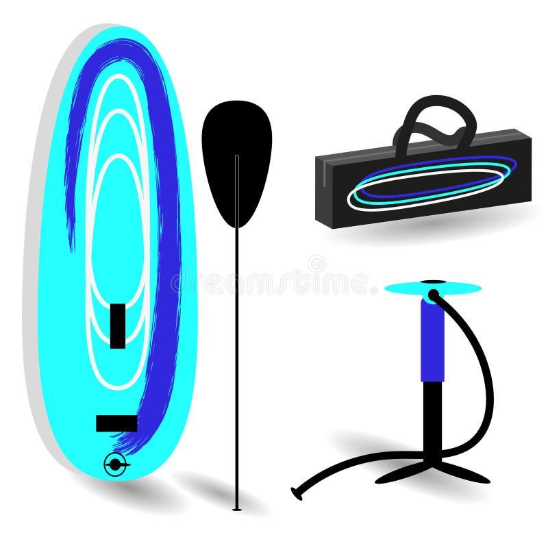 Réglé pour le support barbotez le panneau gonflable, palette, la pompe à main, sac pour surfer Dessin de vecteur dans le style pl illustration de vecteur