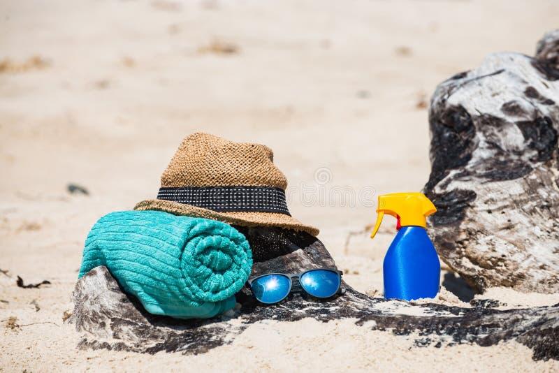 Réglé pour une plage photos libres de droits