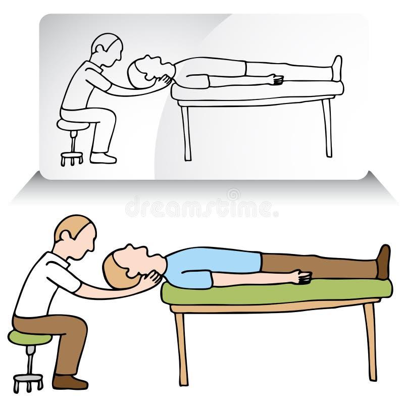 Réglage de cou de chiroprakteur illustration stock
