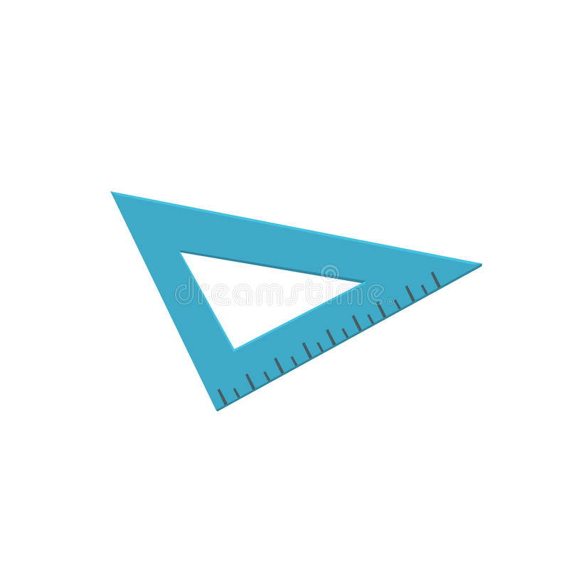 Régua azul do triângulo, ilustração de medição do vetor dos desenhos animados da ferramenta ilustração stock