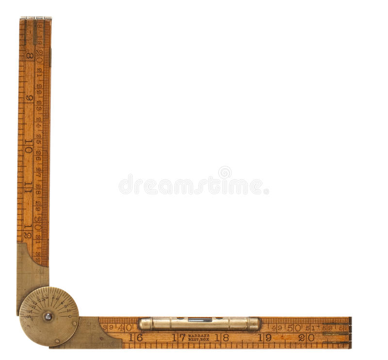 Régua de dobradura do carpinteiro antigo do 19o século imagens de stock royalty free