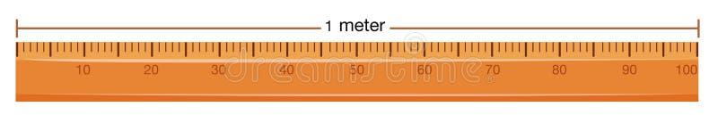 Régua de madeira com medida no medidor ilustração do vetor