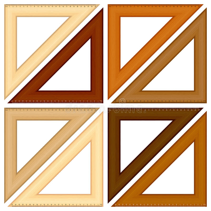 Régua de madeira do triângulo ilustração royalty free