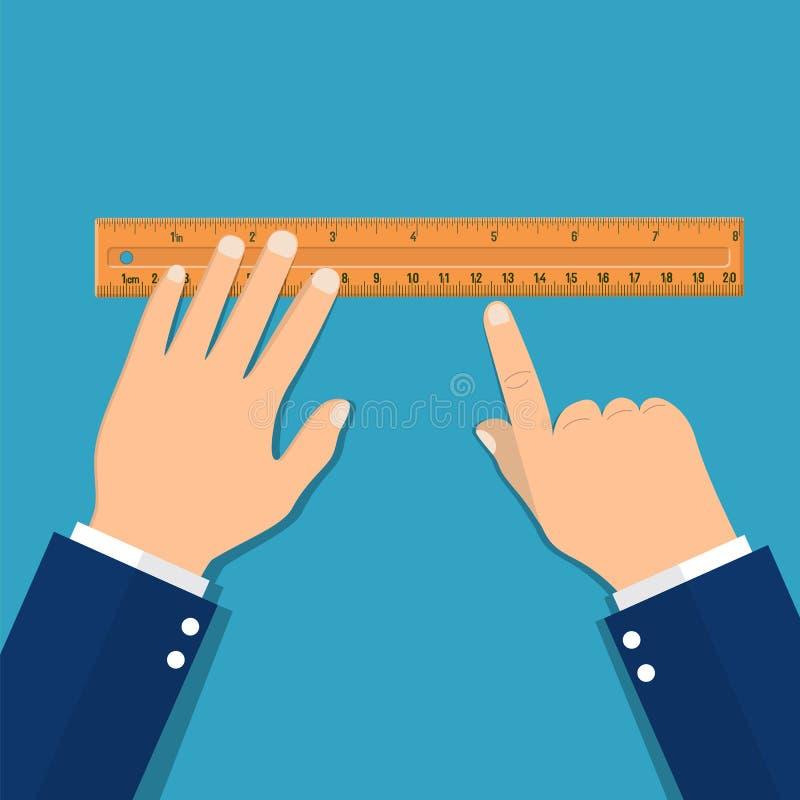 Régua de medição plástica à disposição ilustração stock