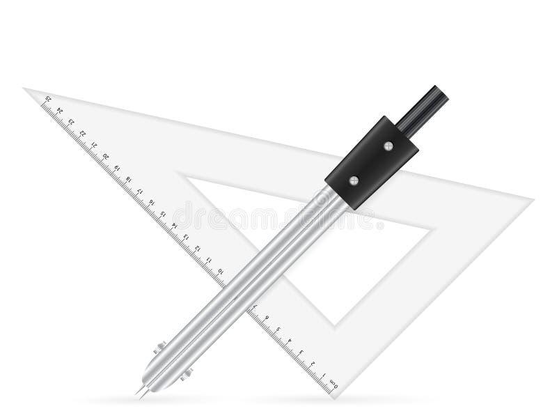 Régua do triângulo e compasso de desenho ilustração do vetor