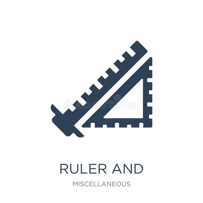 régua e ícone de medição quadrado das ferramentas no estilo na moda do projeto régua e ícone de medição quadrado das ferramentas  ilustração do vetor