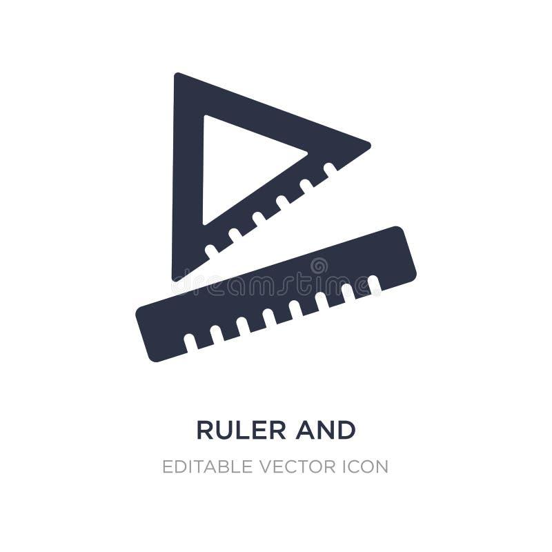 régua e ícone de medição quadrado das ferramentas no fundo branco Ilustração simples do elemento do conceito variado ilustração do vetor