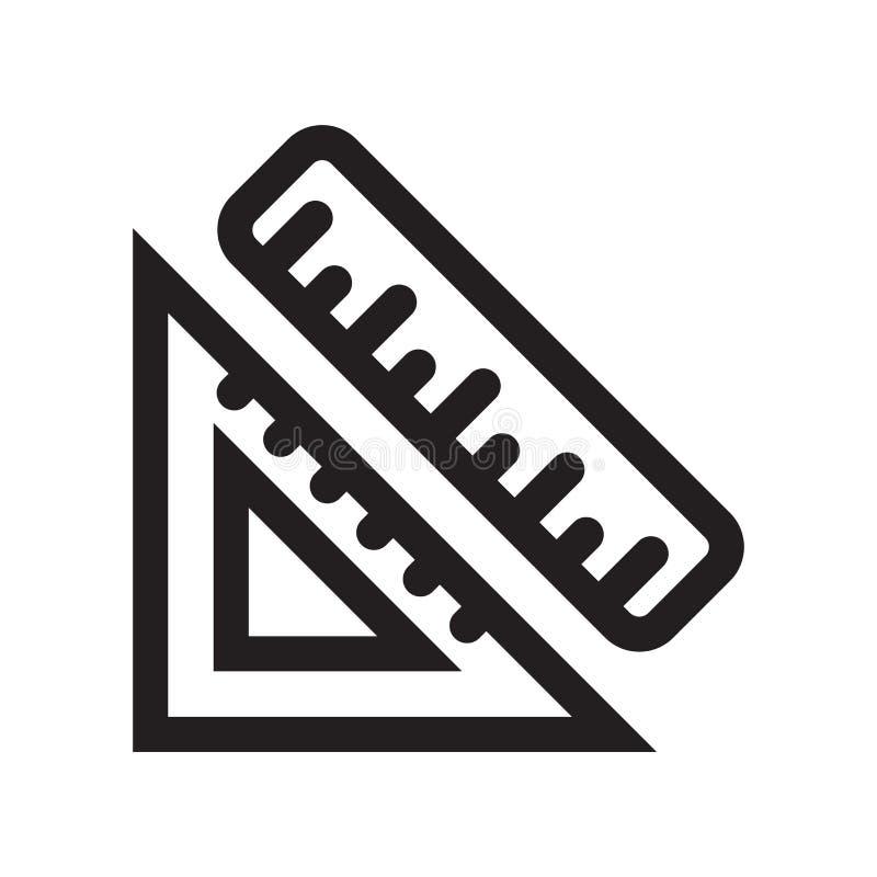Régua e sinal quadrado e símbolo de medição do vetor do ícone das ferramentas isolados no fundo branco, na régua e no logotipo de ilustração do vetor