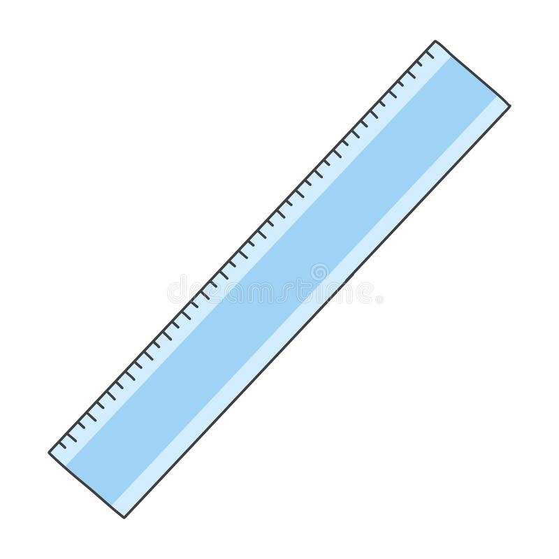 Régua plástica azul Mão bonito ilustração tirada Fundo branco fotos de stock royalty free