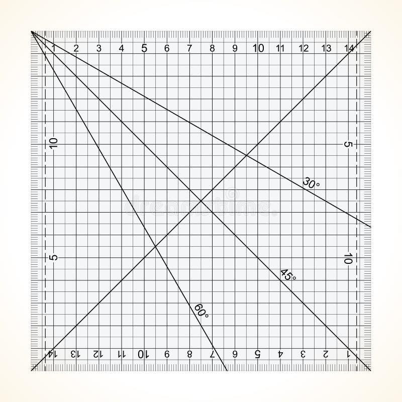 Régua transparente quadrada para estofar ilustração stock