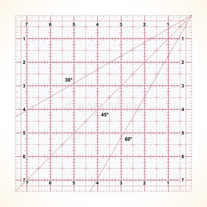 Régua transparente quadrada para estofar ilustração do vetor