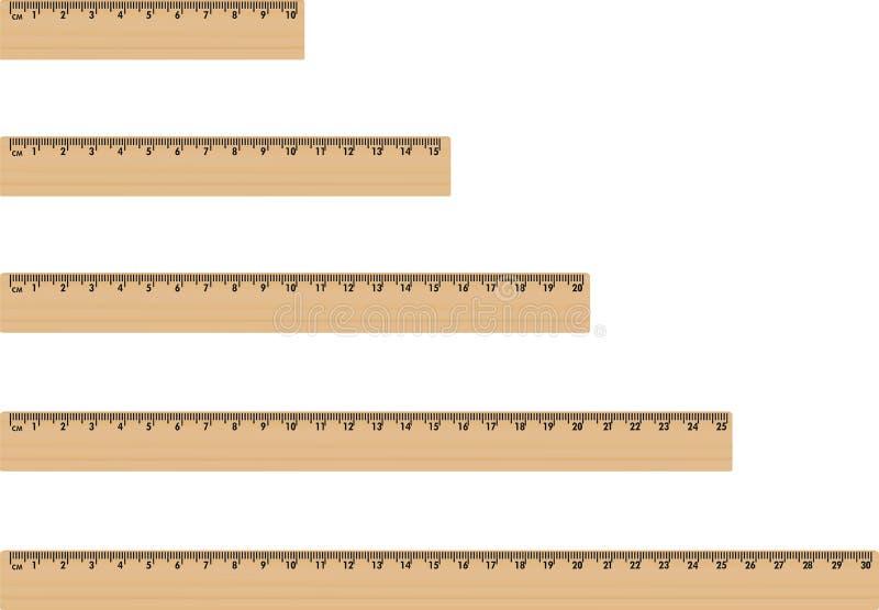 Réguas de madeira ajustadas ilustração stock