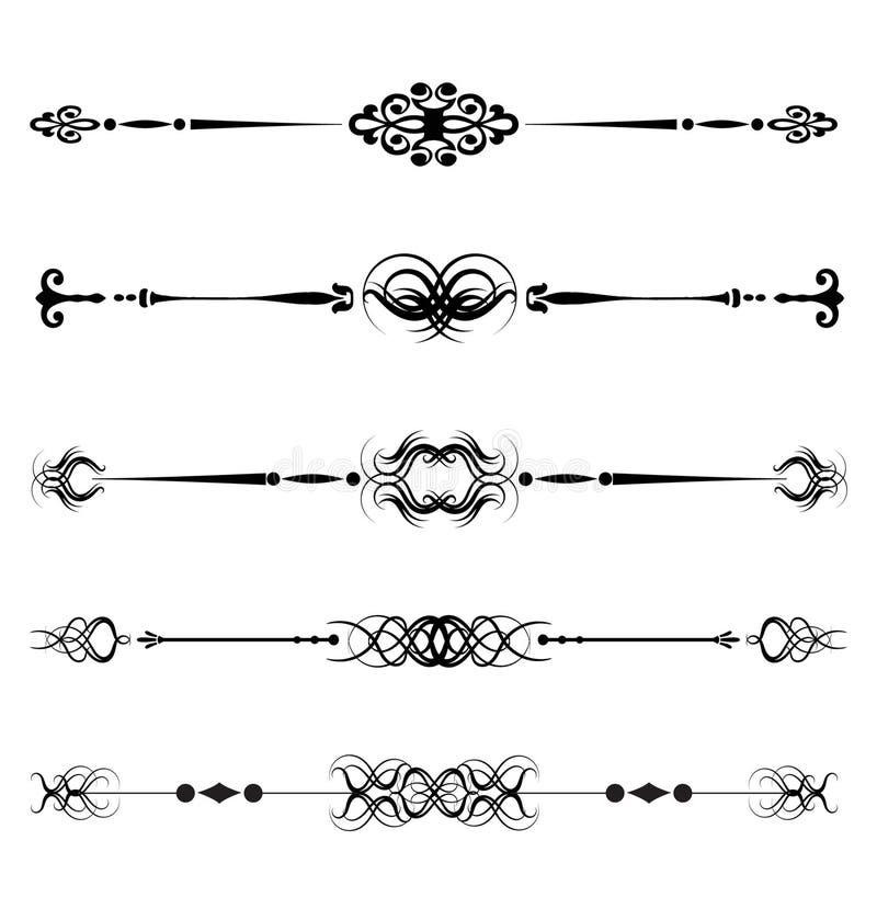 Réguas decorativas do vetor, linhas ilustração do vetor