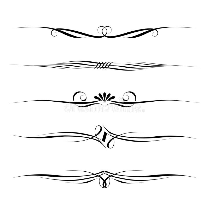 Réguas decorativas dos elementos, da beira e da página ilustração royalty free