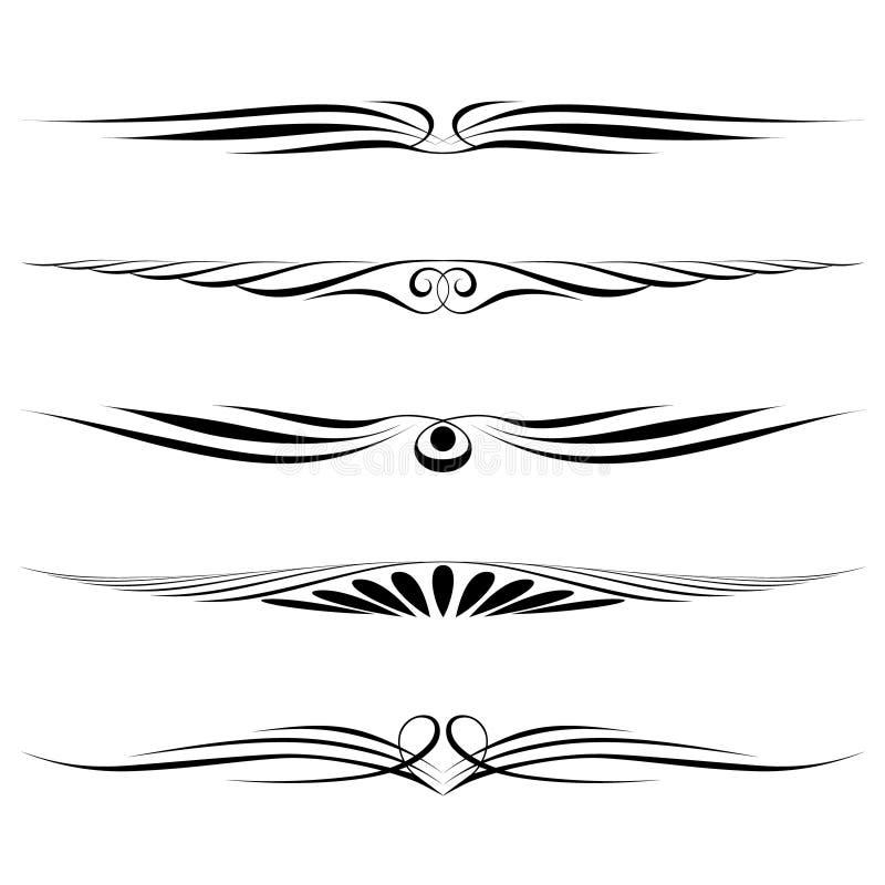 Réguas decorativas dos elementos, da beira e da página ilustração do vetor