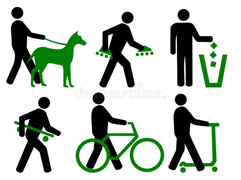Réguas do parque com símbolos ilustração stock