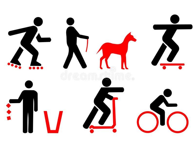 Réguas do parque com símbolos vermelhos ilustração royalty free