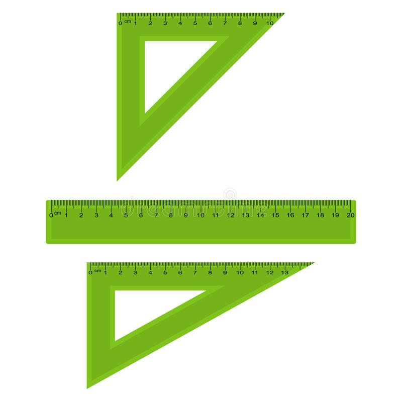 Réguas plásticas da medição e do triângulo nos centímetros e no milímetro Vetor ilustração stock