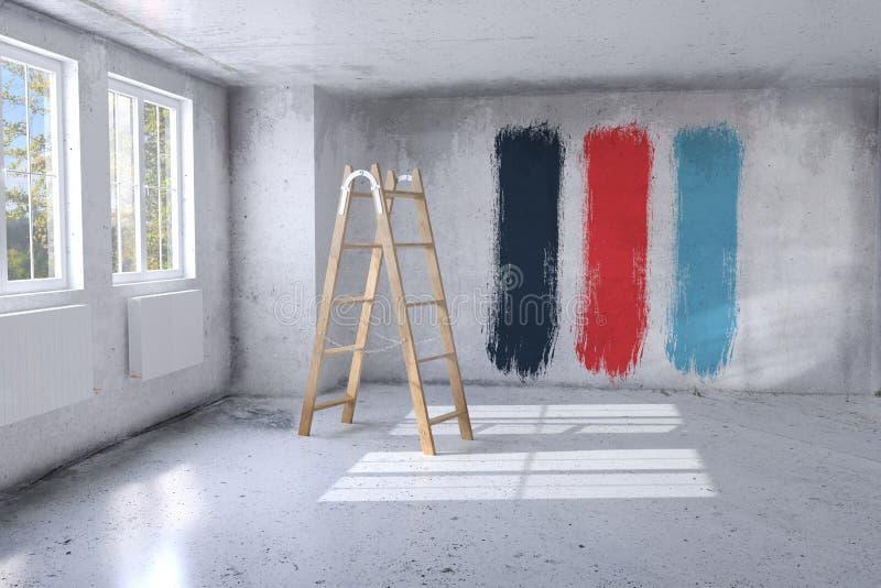 Rénovation d'une salle - rendu 3D illustration libre de droits