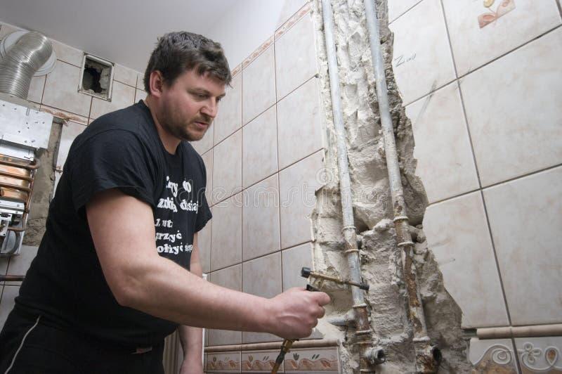 Rénovation de salle de bains photo stock