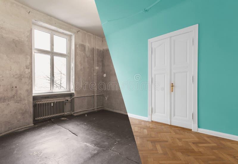 Rénovation plate, rénovation d'appartement, escroquerie de modernisation de pièce image libre de droits