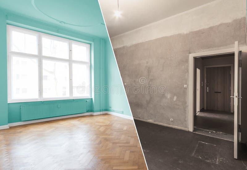 Rénovation plate, rénovation d'appartement, escroquerie de modernisation de pièce images libres de droits
