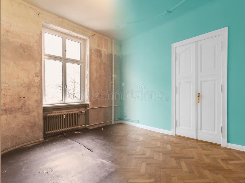 Rénovation plate, rénovation d'appartement, escroquerie de modernisation de pièce image stock