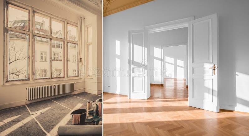 Rénovation plate, rénovation d'appartement, escroquerie de modernisation de pièce images stock