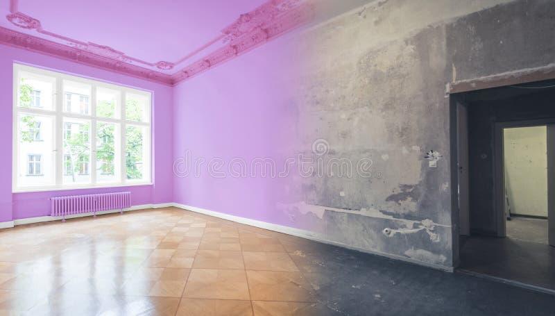 Rénovation plate, rénovation d'appartement, escroquerie de modernisation de pièce photographie stock libre de droits