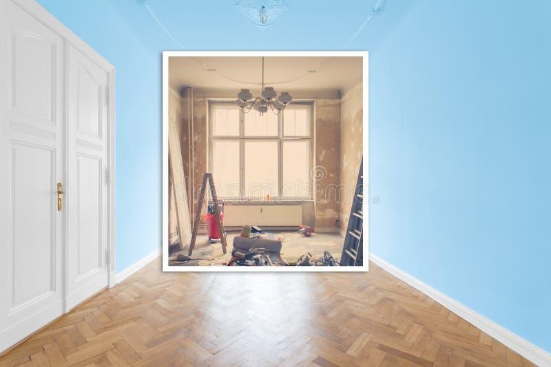 Rénovation plate, rénovation d'appartement, escroquerie de modernisation de pièce photographie stock