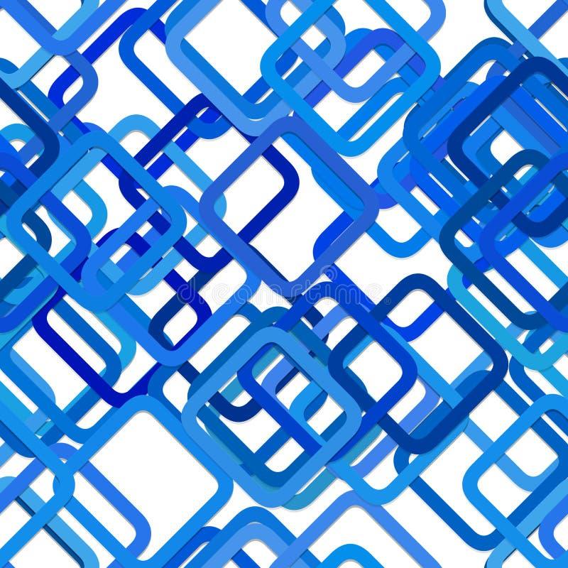 Répétant le modèle carré de fond - conception graphique de vecteur des places diagonales dans des tons bleus avec l'effet d'ombre illustration stock