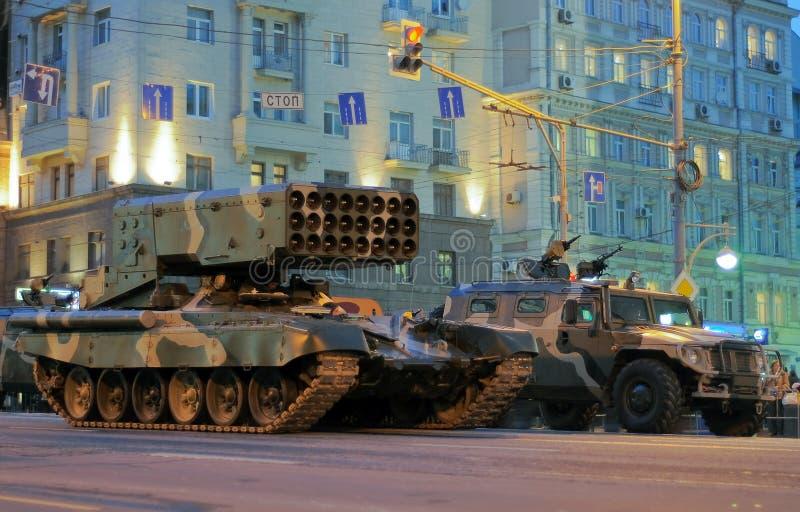 Répétition de défilé d'une victoire à Moscou images libres de droits