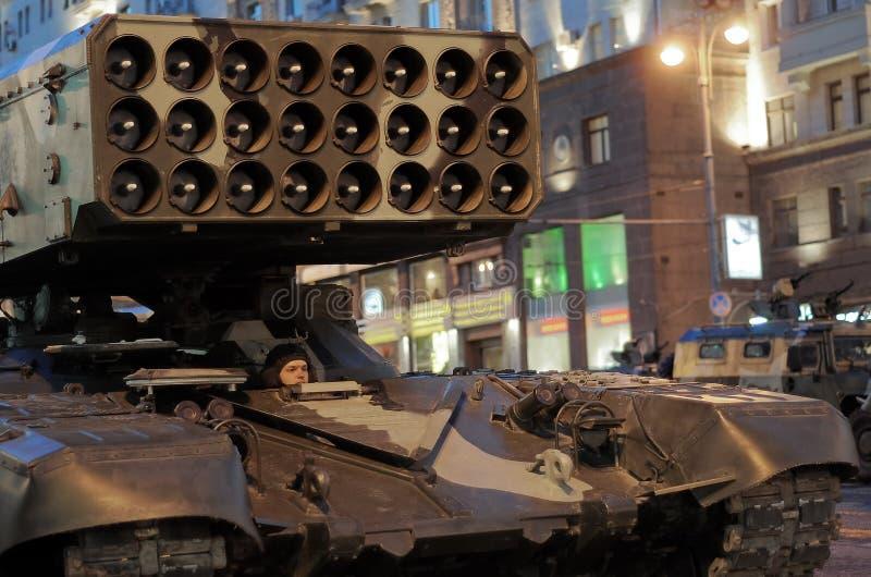 Répétition de défilé d'une victoire à Moscou image libre de droits