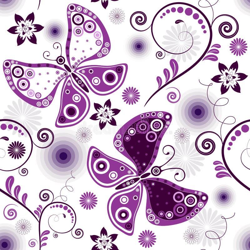 Répétition de la configuration blanc-violette florale illustration de vecteur