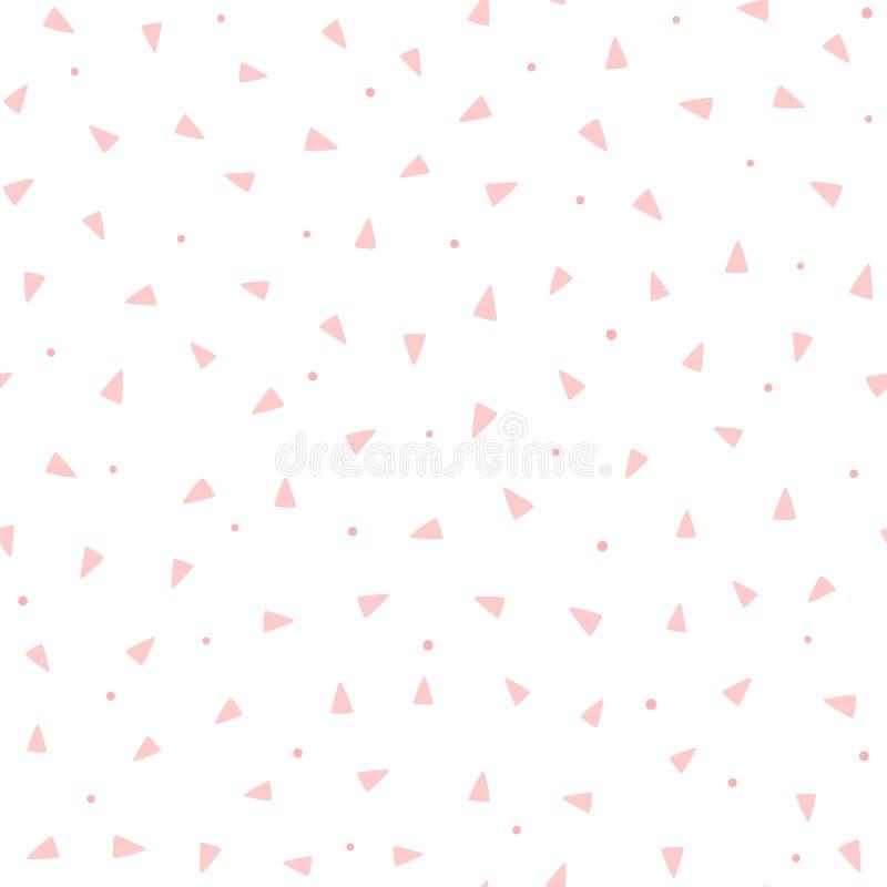 Répétition des triangles roses et des points ronds sur le fond blanc Modèle sans couture géométrique mignon illustration de vecteur