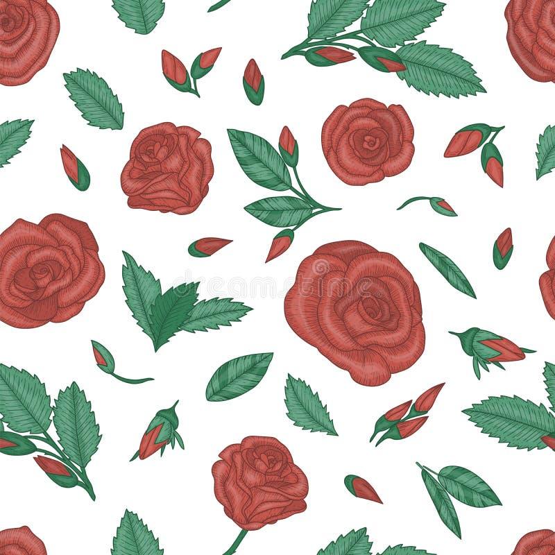 R?p?tition du mod?le avec des roses illustration stock