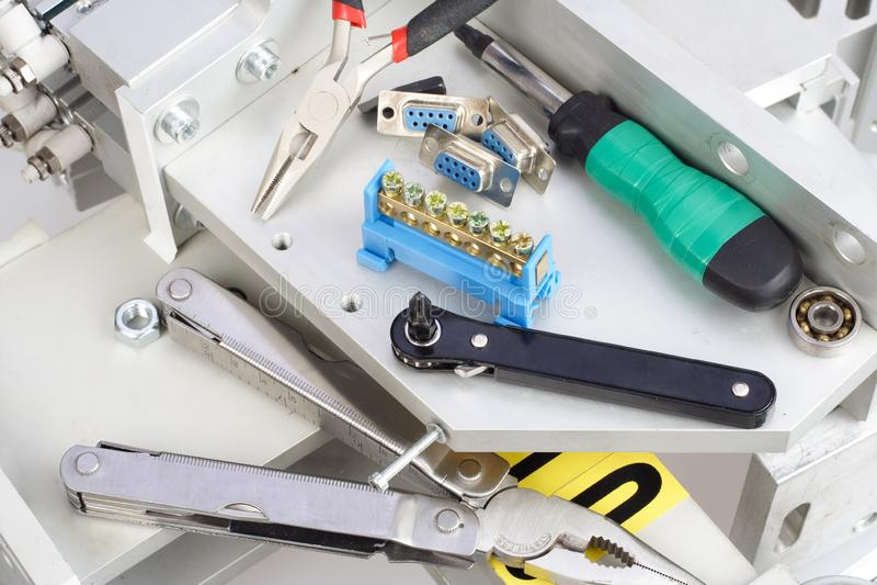 Réparation d'équipement industriel images stock