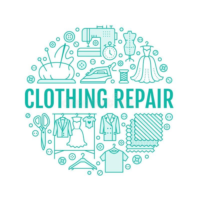 Réparation d'habillement, illustration de bannière d'équipement de studio de changements illustration de vecteur