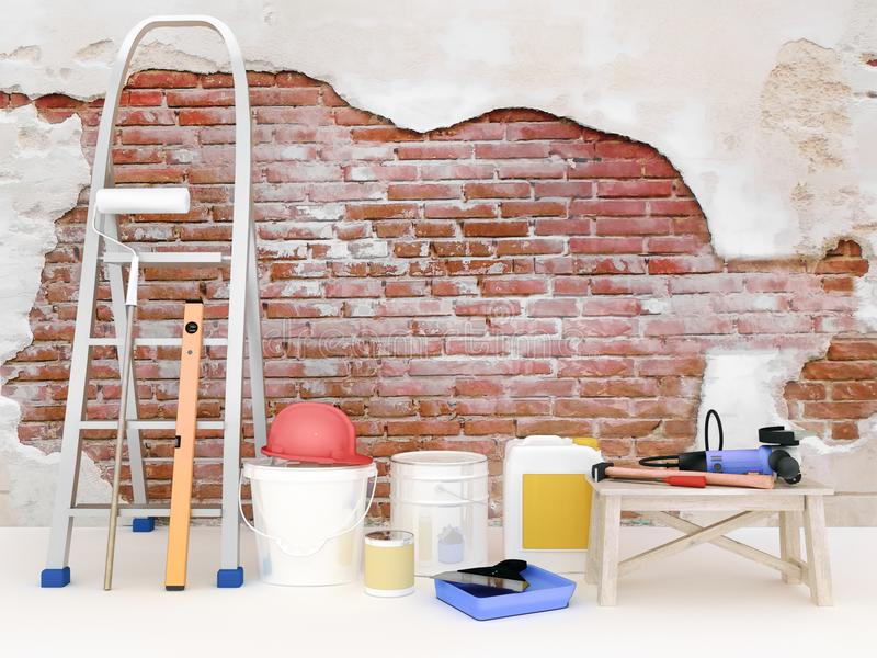 Réparation dans l'appartement Mur dans une maison de construction de bâtiments photo stock